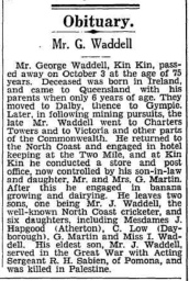 Waddell George Obituary Chronicle And North Coast Advertiser (QLD) - Oct 9 1936