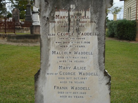 Headstone of the Waddell family, Gympie