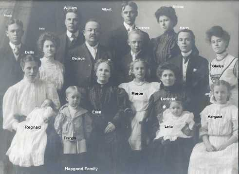 George T Hapgood and wife Ellen (nee Hapgood) and 5 sons, wives and children