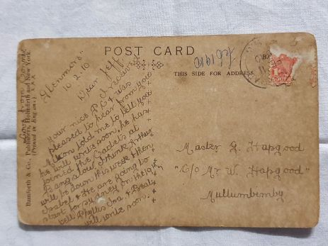 HAPGOOD Jeff postcard from Aunt Connie Newton 1919 back