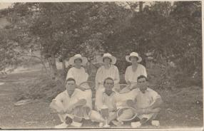 Waddell Jim front left Dorrie Wadell striped jacket Kin Kin Tennis Club Champianship Team 1922 jpg-2